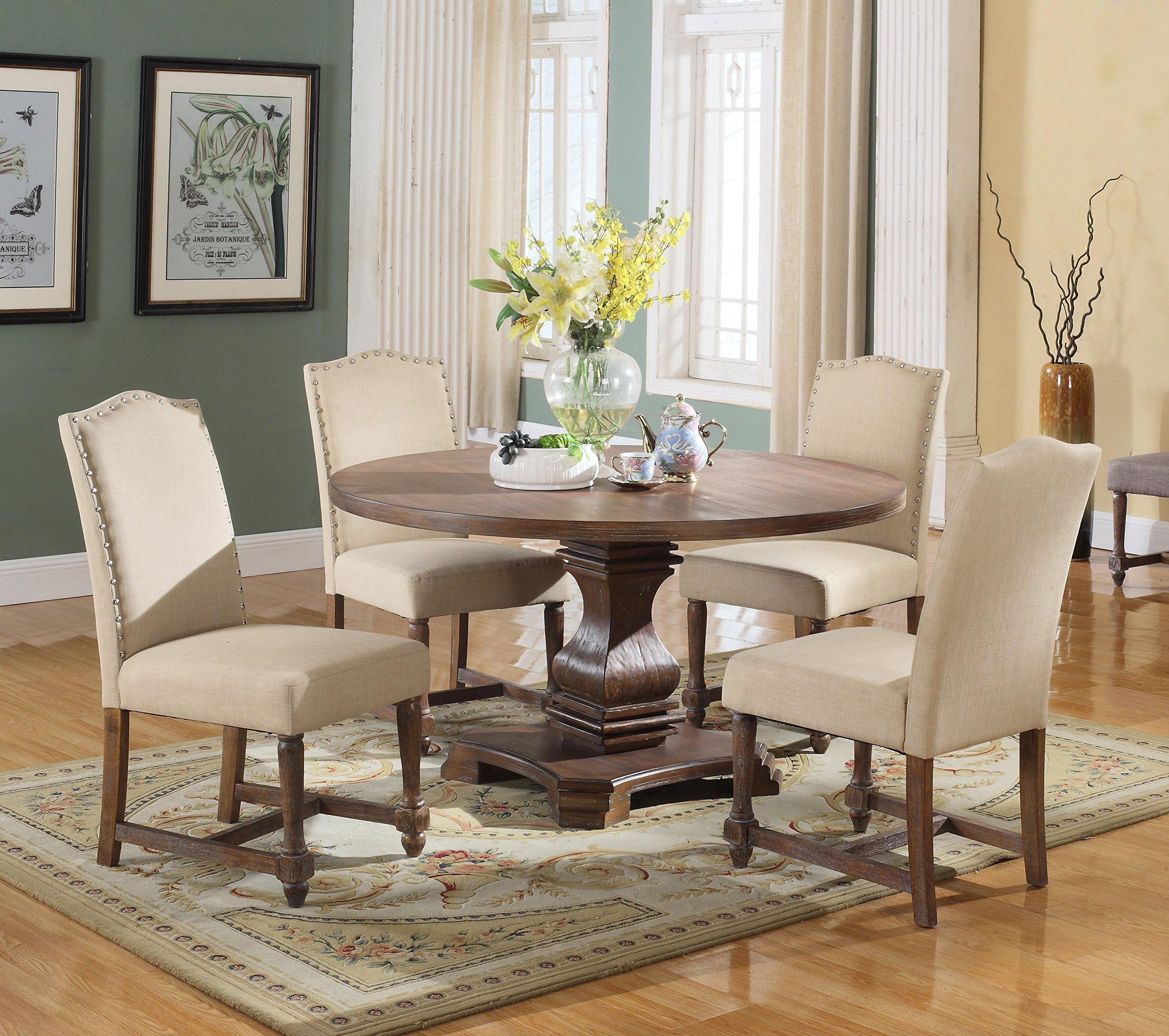 Best Master Furniture Ellisburg Wooden 5 Piece Dining Set, Tan by Best Master Furniture
