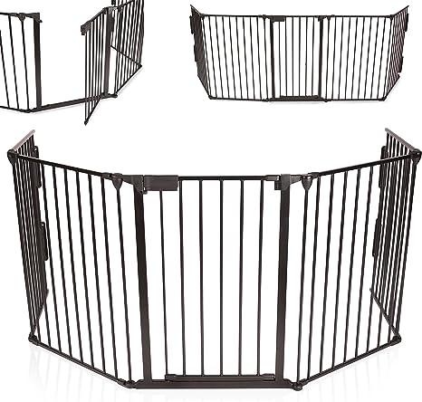 KIDUKU® Barrera de seguridad Reja de protección Quitafuegos para chimenea parque para niños corralito, longitud de 300 cm, negro: Amazon.es: Bebé