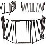 KIDUKU® Barrière de sécurité grille de protection métal Parc pour enfants Parc à bébé Grillage Sécurité enfants, Longueur de 310 cm, noir