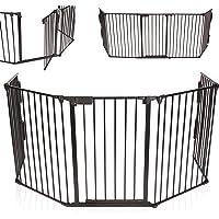 KIDUKU® Cancelletto in metallo di sicurezza per il camino, Box Bambino, Recinto, Cancello di sicurezza per la sicurezza dei Bambini, lunghezza 300 centimetri, nero