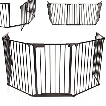 KIDUKU® Kaminschutzgitter Metall Laufgitter Laufstall Absperrgitter Türschutzgitter für Kinder-Sicherung, 300 cm Länge, schwa