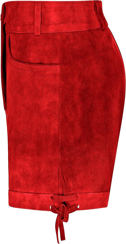 Hirschberger Kurze Damen Trachten Lederhose Ziegenleder rot