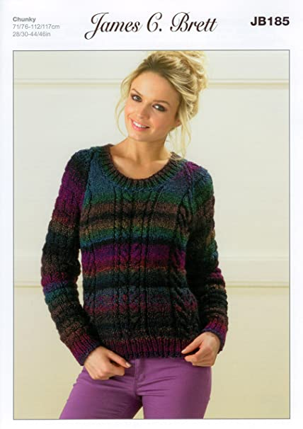 efe0e5dd3267 Ladies Sweater JB185 Knitting Pattern James C Brett Marble Chunky ...