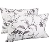 Amazon Brand – Pinzon Signature 190-Gram Cotton Heavyweight Velvet Flannel Pillowcases, King, Floral Graphite