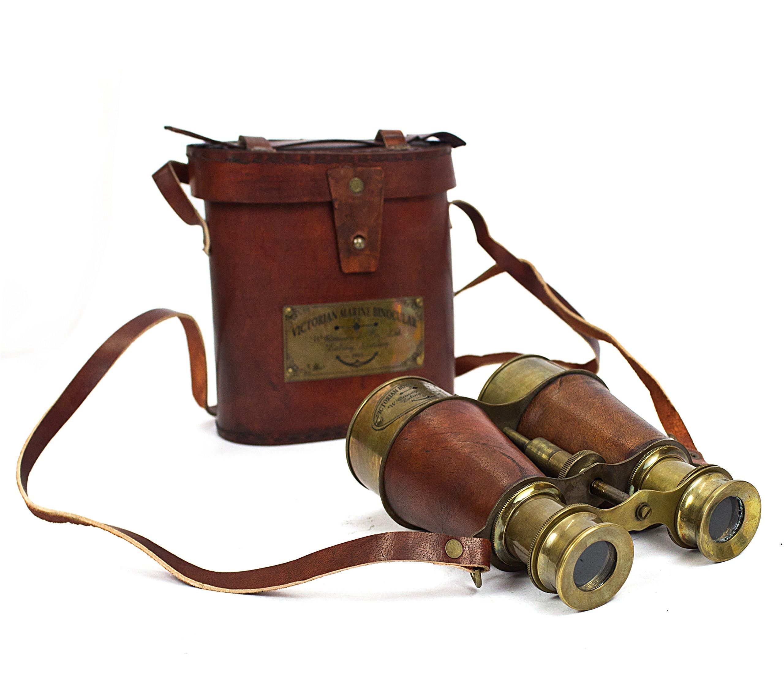 Antique Victorian Marine Brass Leather Binocular Sailor Instrument London 1915 (Orange) by Collectiblesbuy
