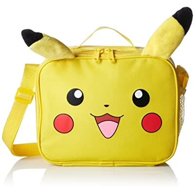 Pokemon Nintendo Plush Pikachu Insulated 3D Plush Ear Soft Portable Travel Zipper Lunch Bag Tote with Adjustable Strap, 10 x 8 x 3 Inches, Yellow: Kitchen & Dining