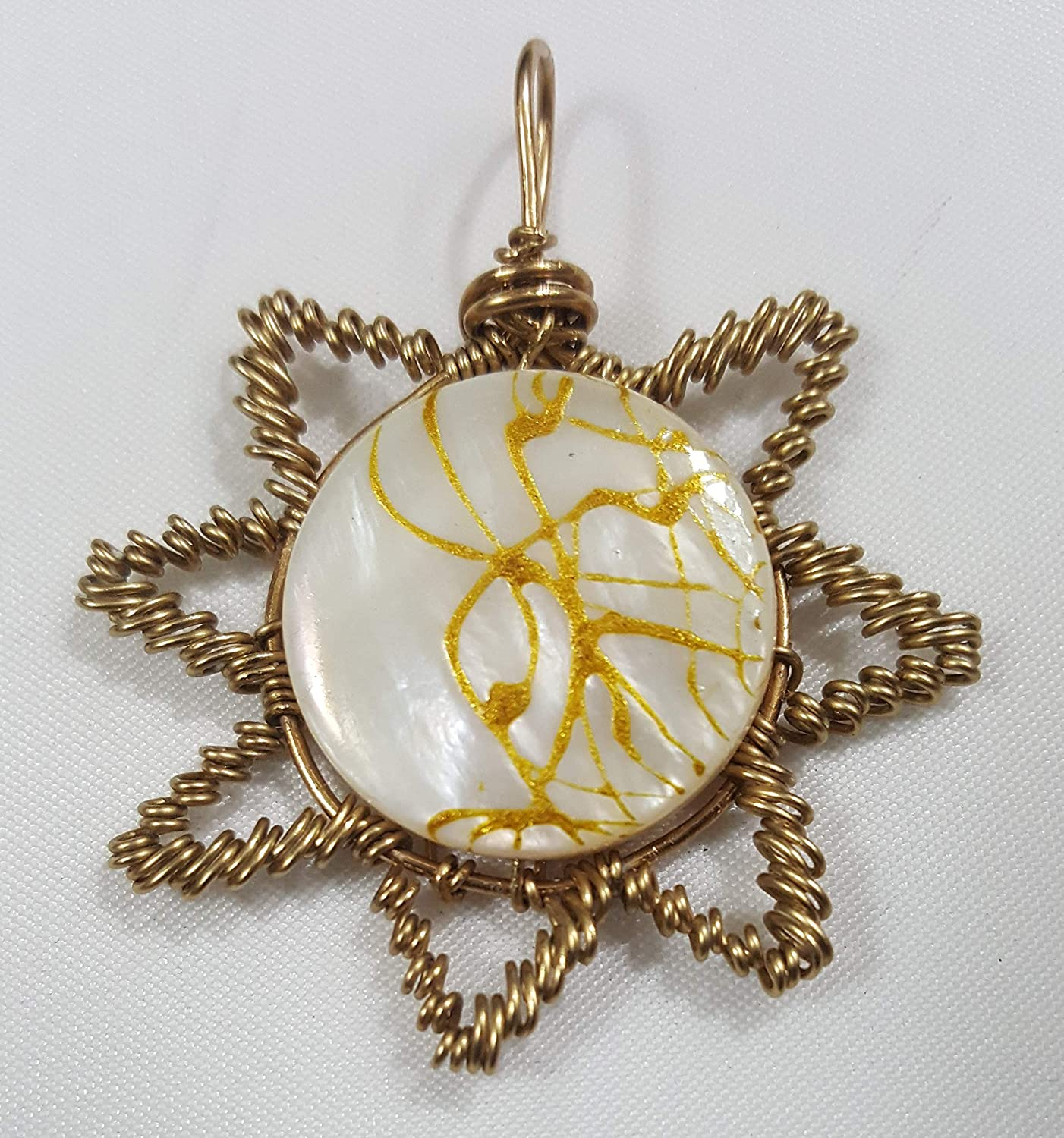 Mother of Pearl Brass Woven Pendant