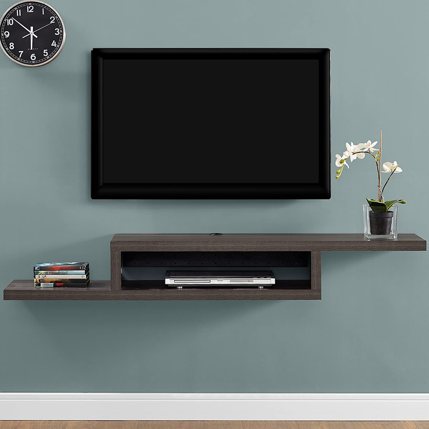 Martin FurnitureAsymmetrical Floating Wall Mounted TV Console, 60inch, Skyline Walnut