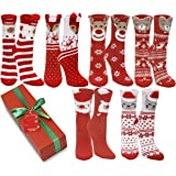 12 Pair,Holiday X-Mas Socks, 12 Different Designs,Christmas Gift, Size 9-11