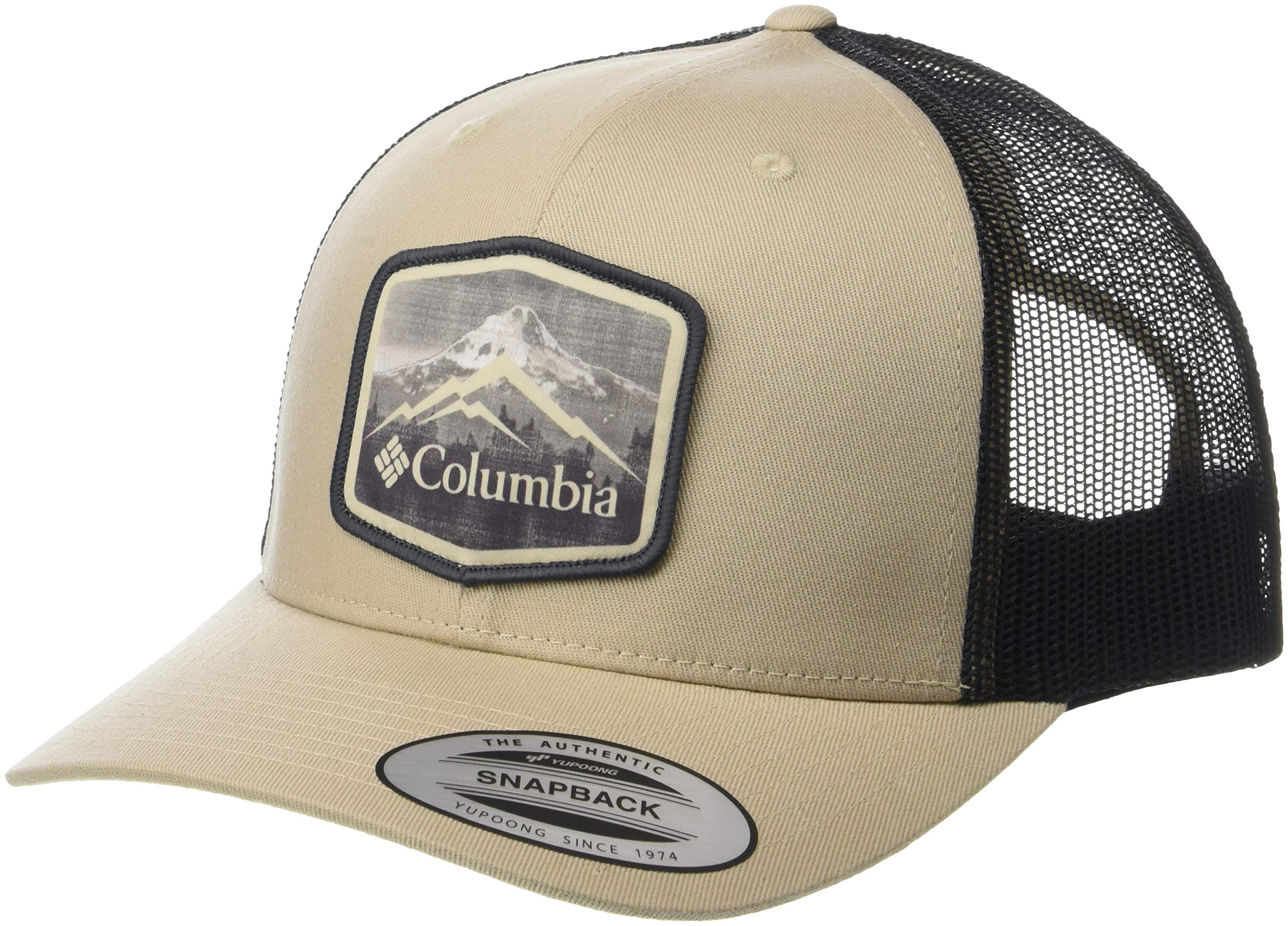 Columbia Men's Mesh Snap Back Hat, Ancient Fossil, Hex Patch, One Size