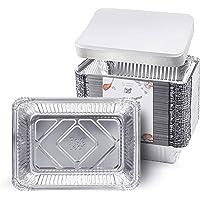 """Fig & Leaf (60 Pack) 1.5-LB Takeout Pans with LIDS l Shallow 8.6"""" x 6.1"""" x 1.6"""" l Premium Heavy-Duty Disposable Aluminum Foil for Restaurant"""