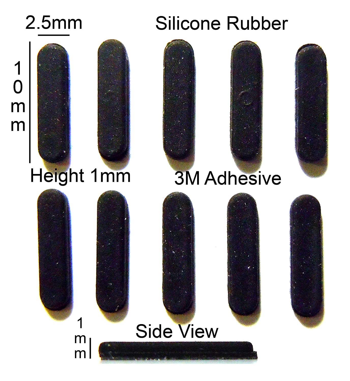 RB183 Self Adhesive 10pcs Silicone Rubber Feet Set 10mm W x 1mm H L x 2.5mm