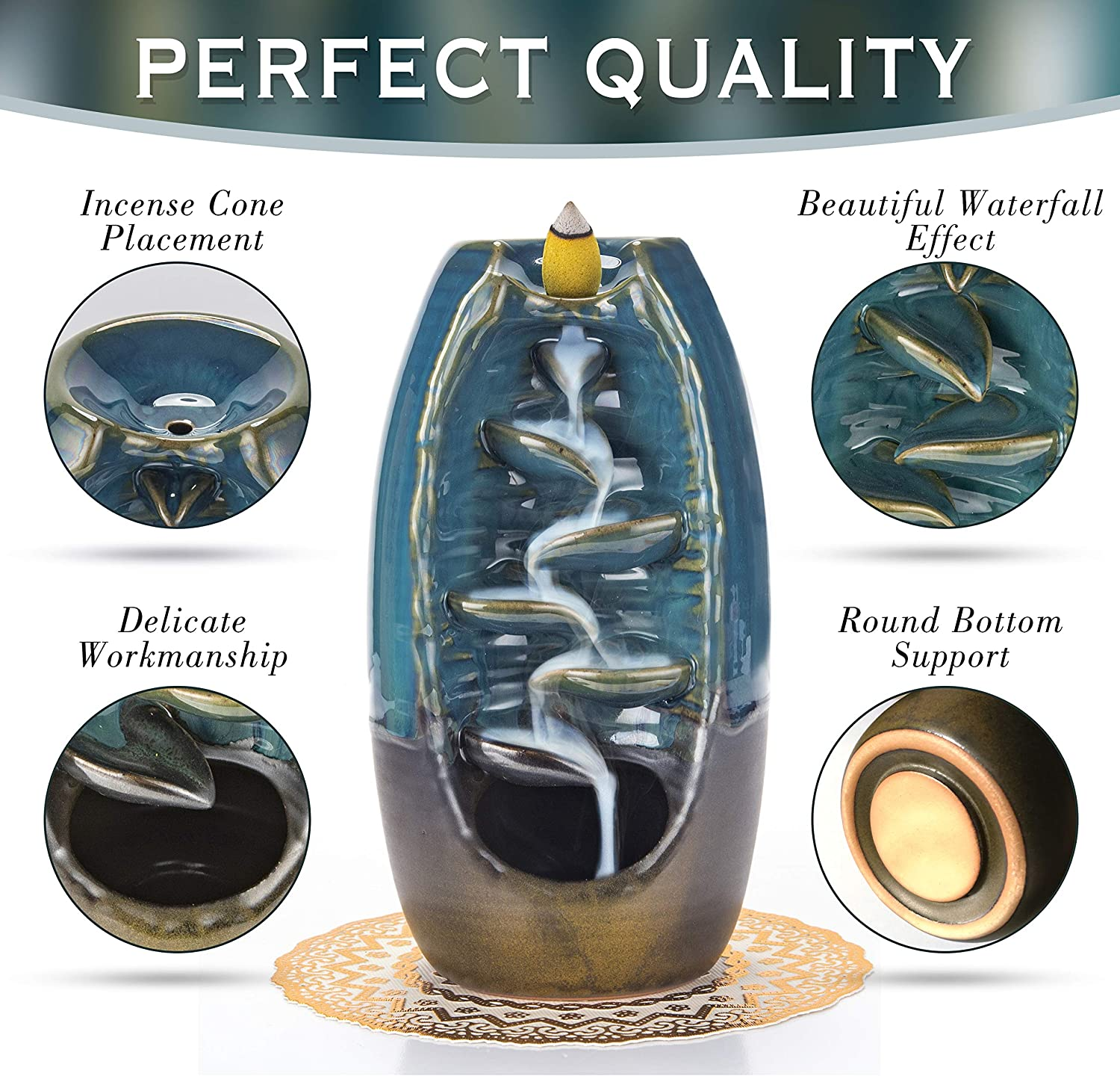 Luxxis Waterfall Incense Burner for Home Decor Ornament Aromatherapy Elegant Place Mat 100 Bonus Cones with Carrying Satchel Ceramic Backflow Incense Holder Meditation Relaxation
