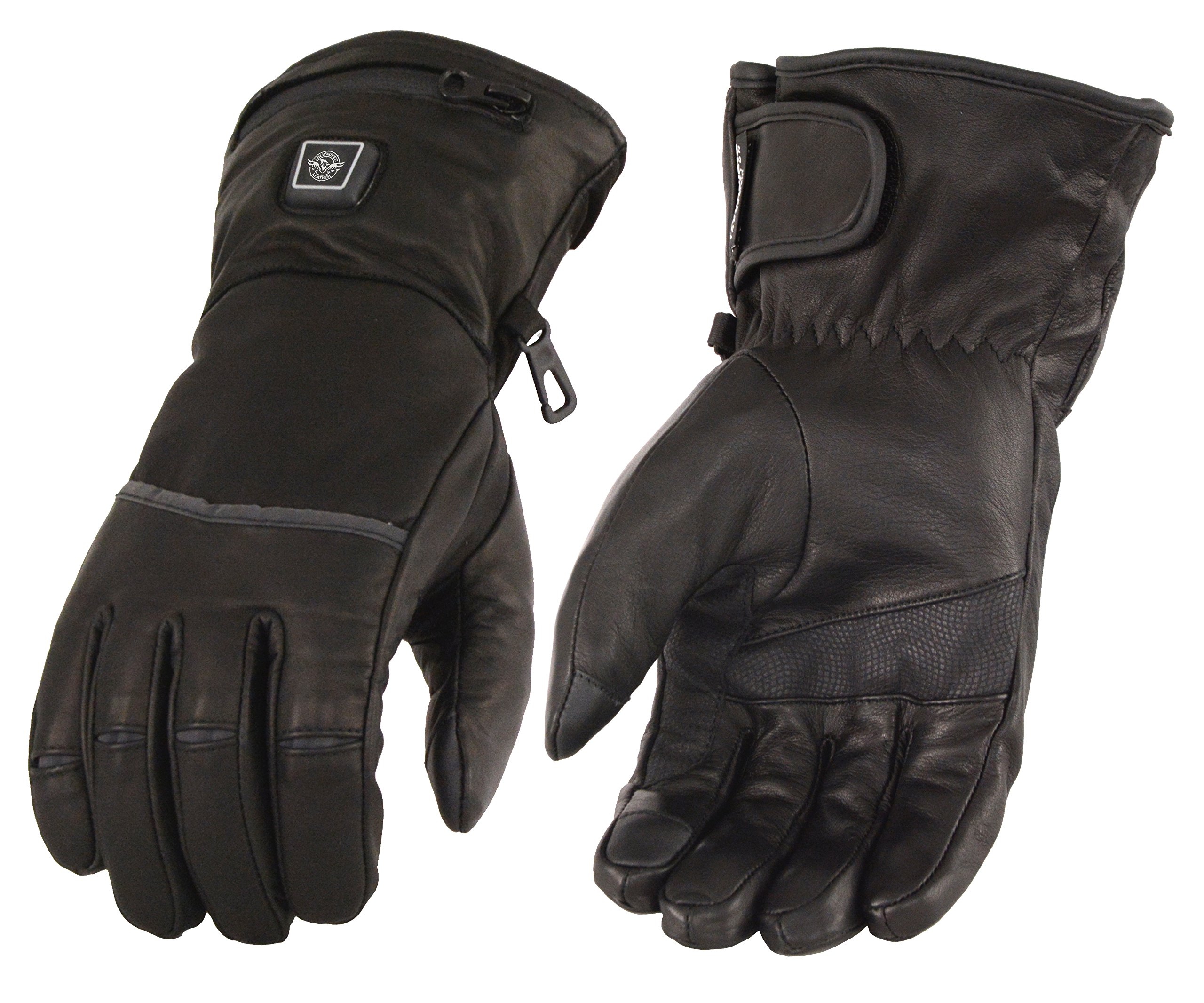 Men's Heated Leather Gauntlet Gloves w/ Touch Screen Fingers (Medium)