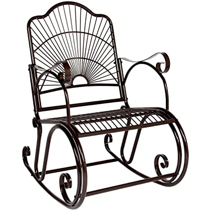 BCP Patio Iron Scroll Porch Rocker Rocking Chair Outdoor Deck Seat Antique  Style Backyard Glider - Amazon.com : BCP Patio Iron Scroll Porch Rocker Rocking Chair