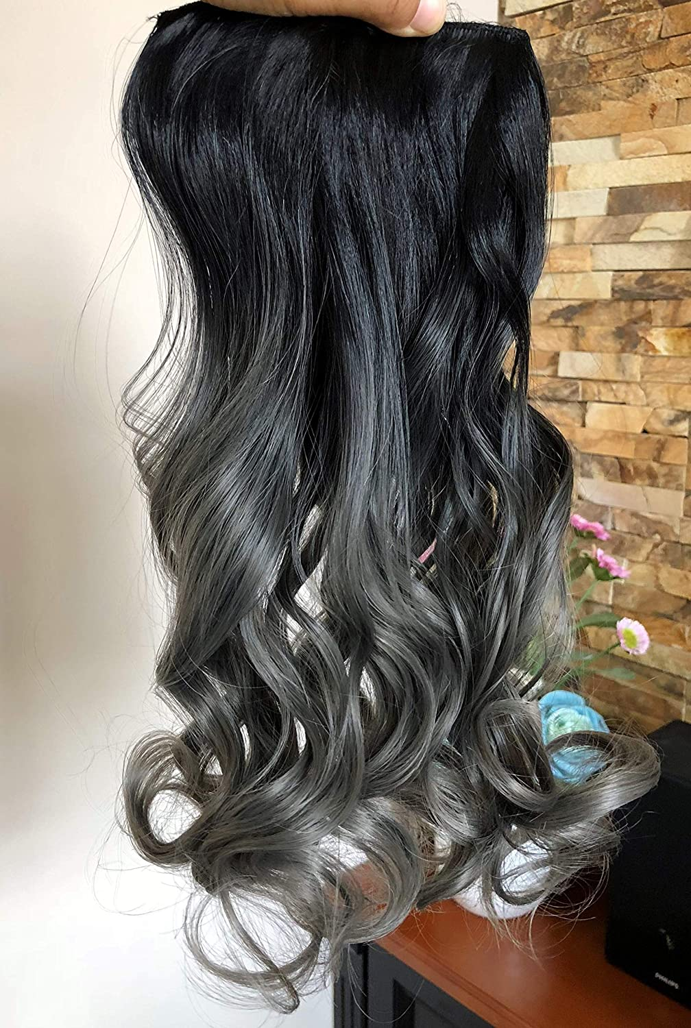 20 inch long full head clip in hair extensions ombre light brown
