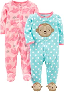 Simple Joys by Carters Baby Girls 2-Pack Fleece Footed ...