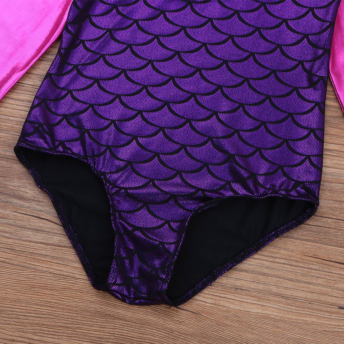 MSemis Kids Girls Long Sleeves Shiny Metallic Mermaid Ballet Leotard Dancewear Gymnastics Unitard Jumpsuit