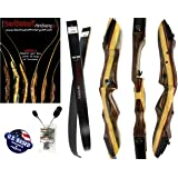 "Tigershark Takedown Recurve Bow and Arrow Set – 62"" Recurve Hunting Bow – Right & Left Hand – Draw Weights in 25-60 lbs – USA Based Company – Perfect for Beginner to Pro"