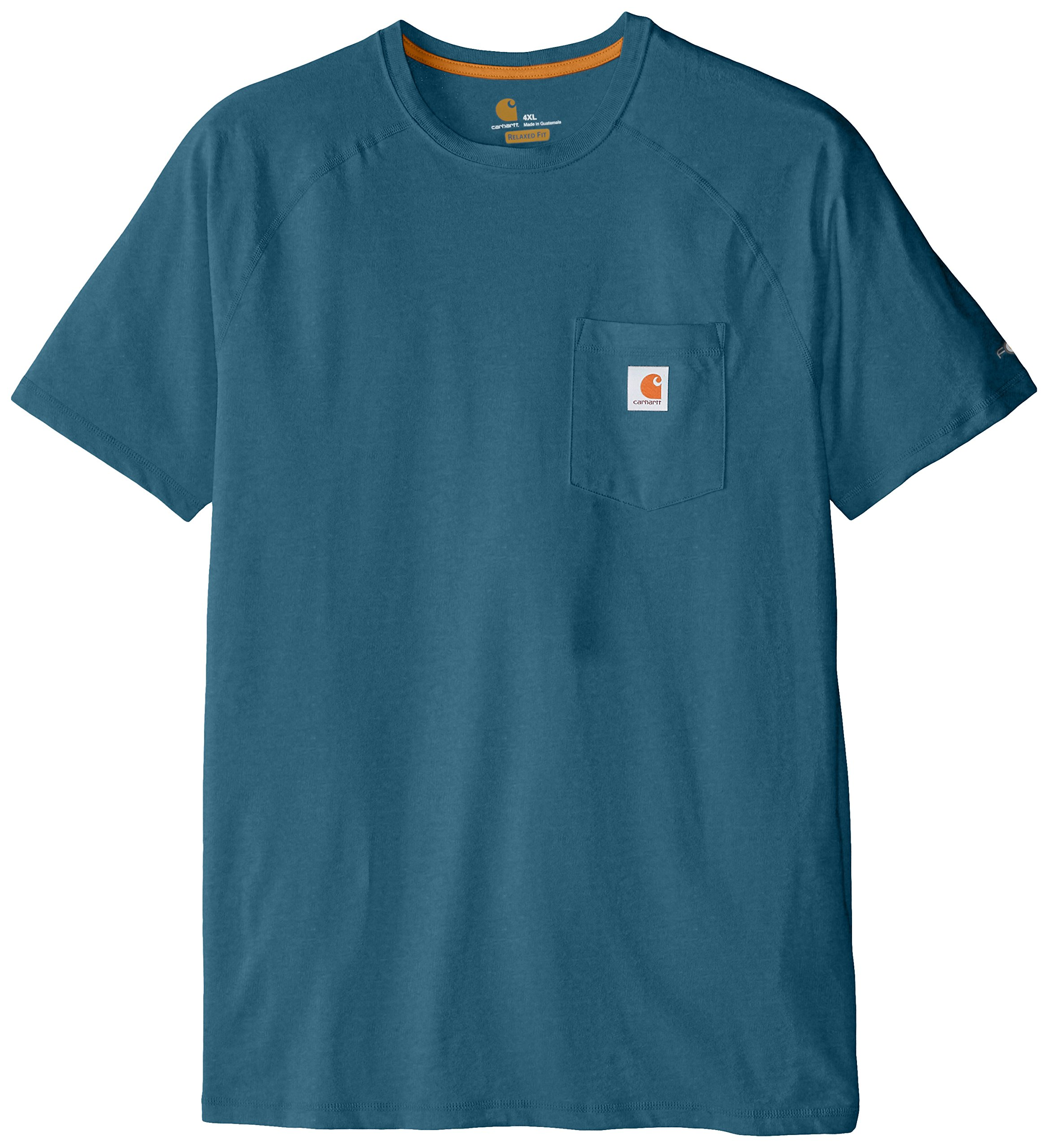 Carhartt Men's Big & Tall Force Cotton Delmont Short Sleeve T Shirt Relaxed Fit, Bay Harbor, 2X-Large/Tall