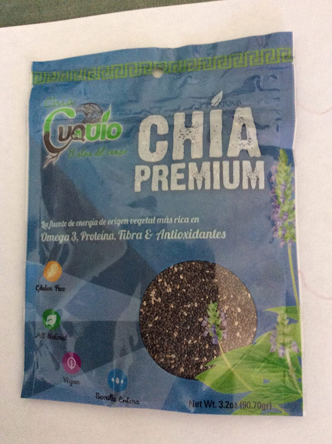 Amazon.com : Cuquio Premium Chia Seeds 2 Lbs Packaged In 10 Small, Convenient Packets! Throw In Your Purse/Gym Bag, 3.2 oz ZipLock Pkgs! All Natural, Vegan, ...