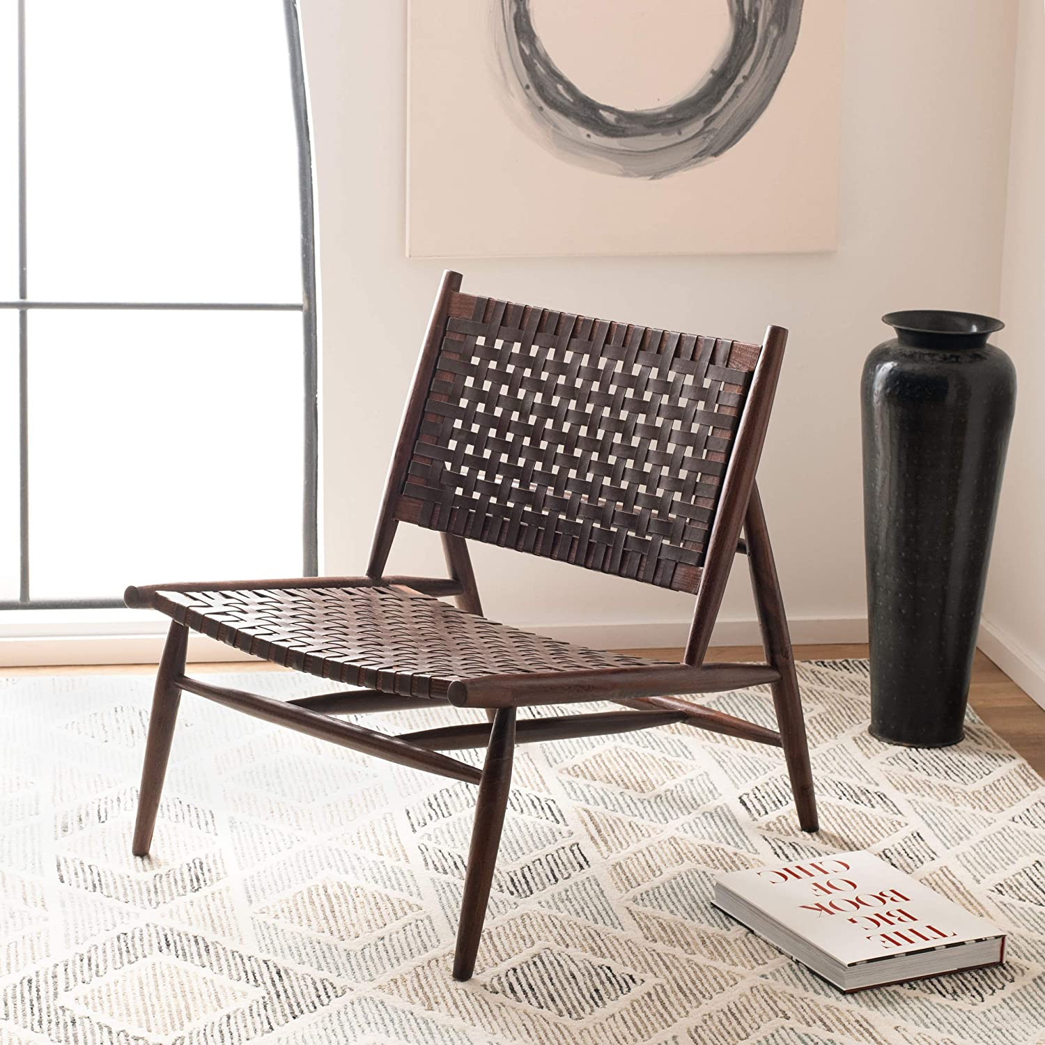 Safavieh Home Soleil Brown and Brown Leather Woven Accent Chair