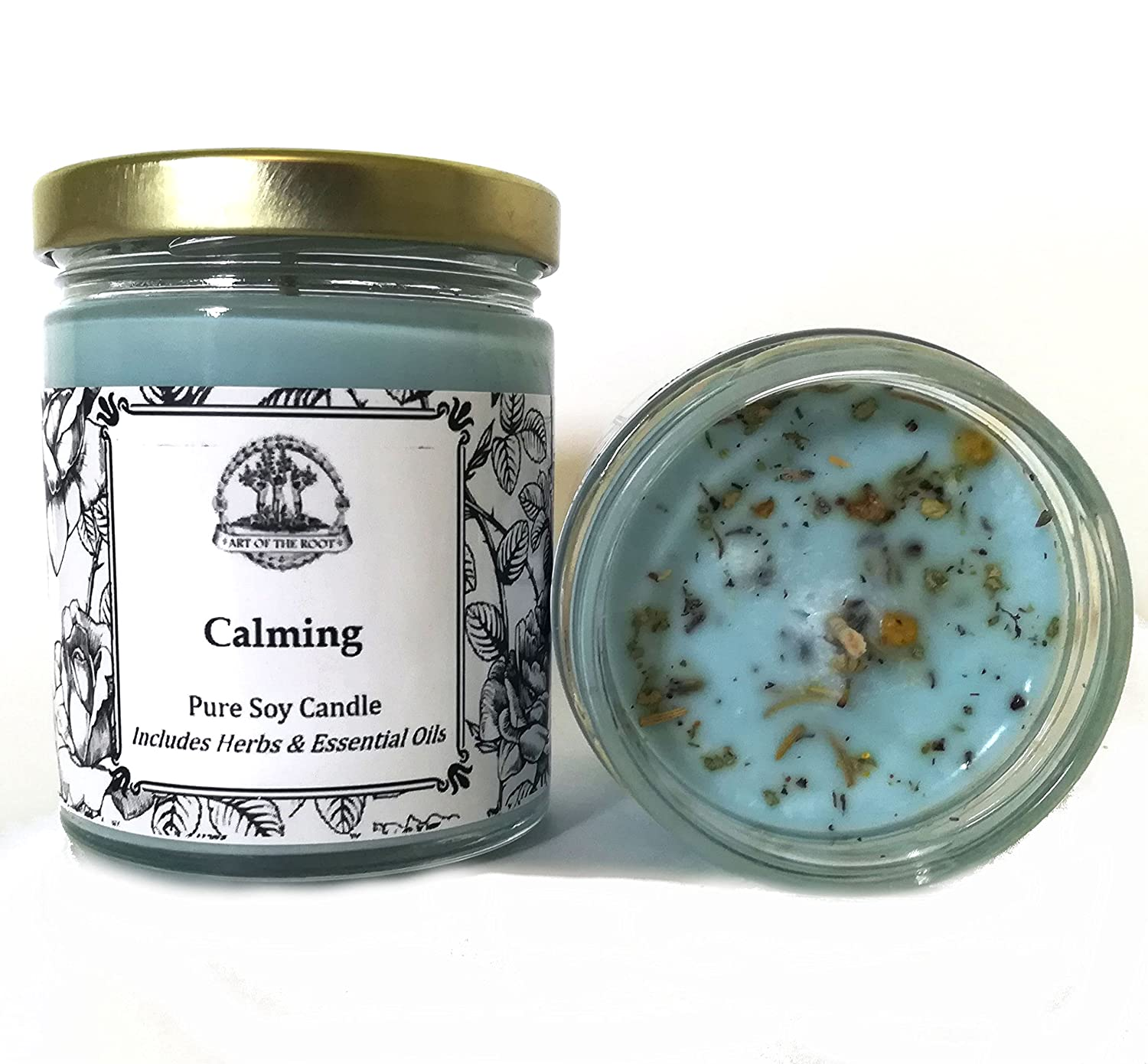 Art of the Root Calming 8 oz Soy Herbal Candle for Anxiety, Tension, Stress & Discord (Wiccan Pagan Hoodoo Conjure) Ltd.