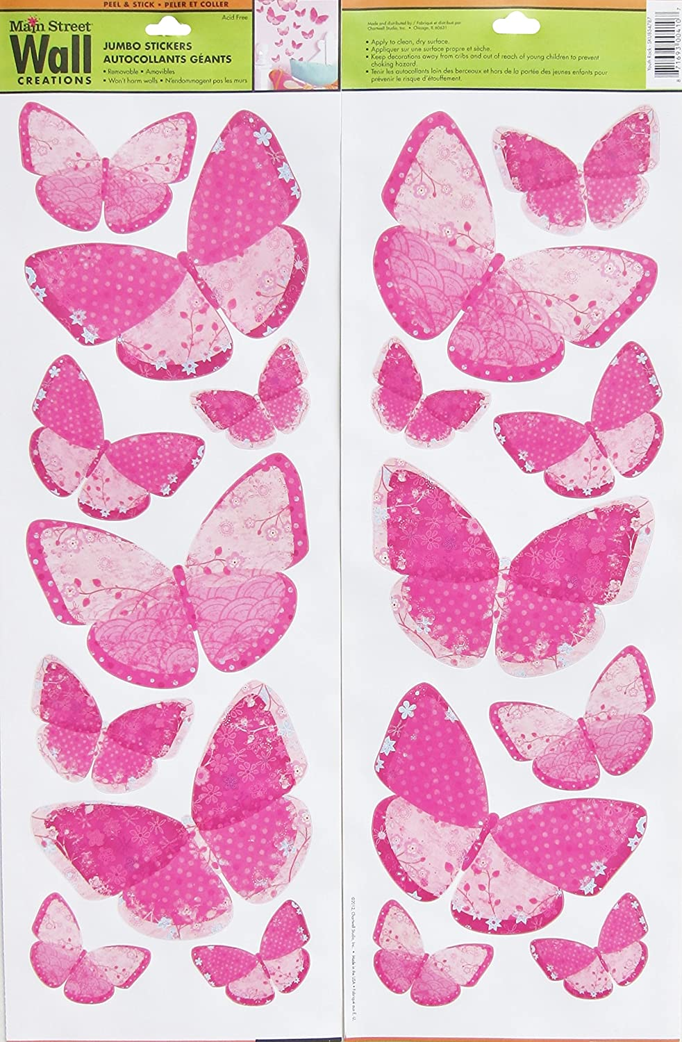 Amazon Com Main Street Jumbo Wall Stickers Pink Butterflies Butterfly 1 Double Sided Sheet Home Kitchen