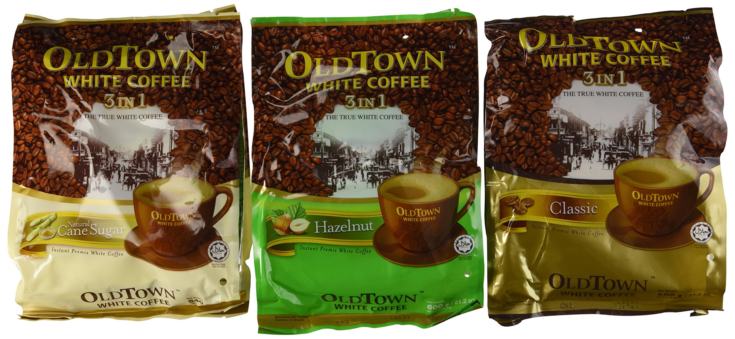 OLD TOWN White Coffee 3 in 1 Variety Pack (Classic, Natural Cane Sugar, Hazelnut)