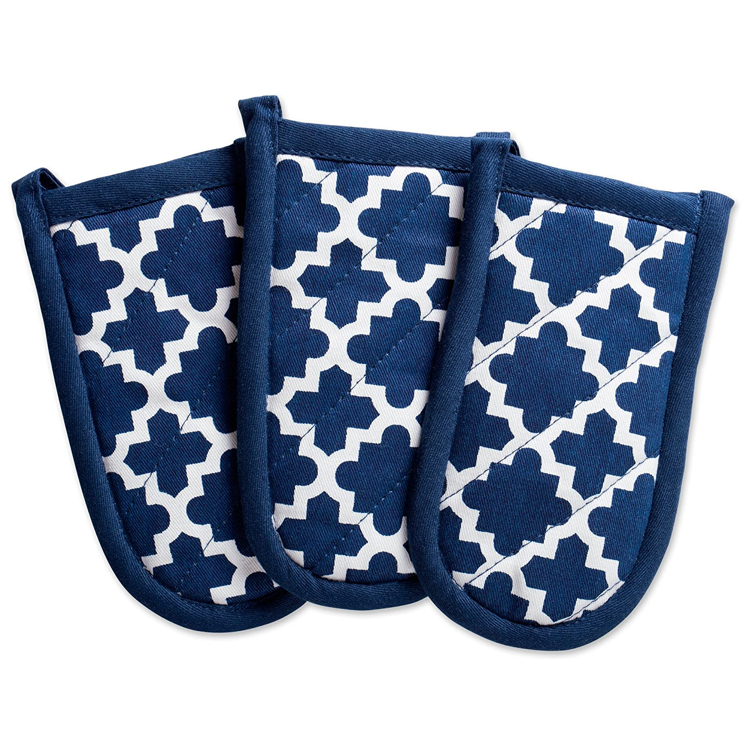 """DII Cotton Lattice Pan Handle Holders, 6 x 3"""" Set of 3, Machine Washable and Heat Resistant Pan Handle Sleeve for Kitchen Cooking & Baking-Nautical Blue"""