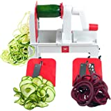 Paderno World Cuisine Folding Spiral Vegetable Slicer / Countertop-Mounted Plastic Spiralizer incl. 3 Different Blades Made of Stainless Steel