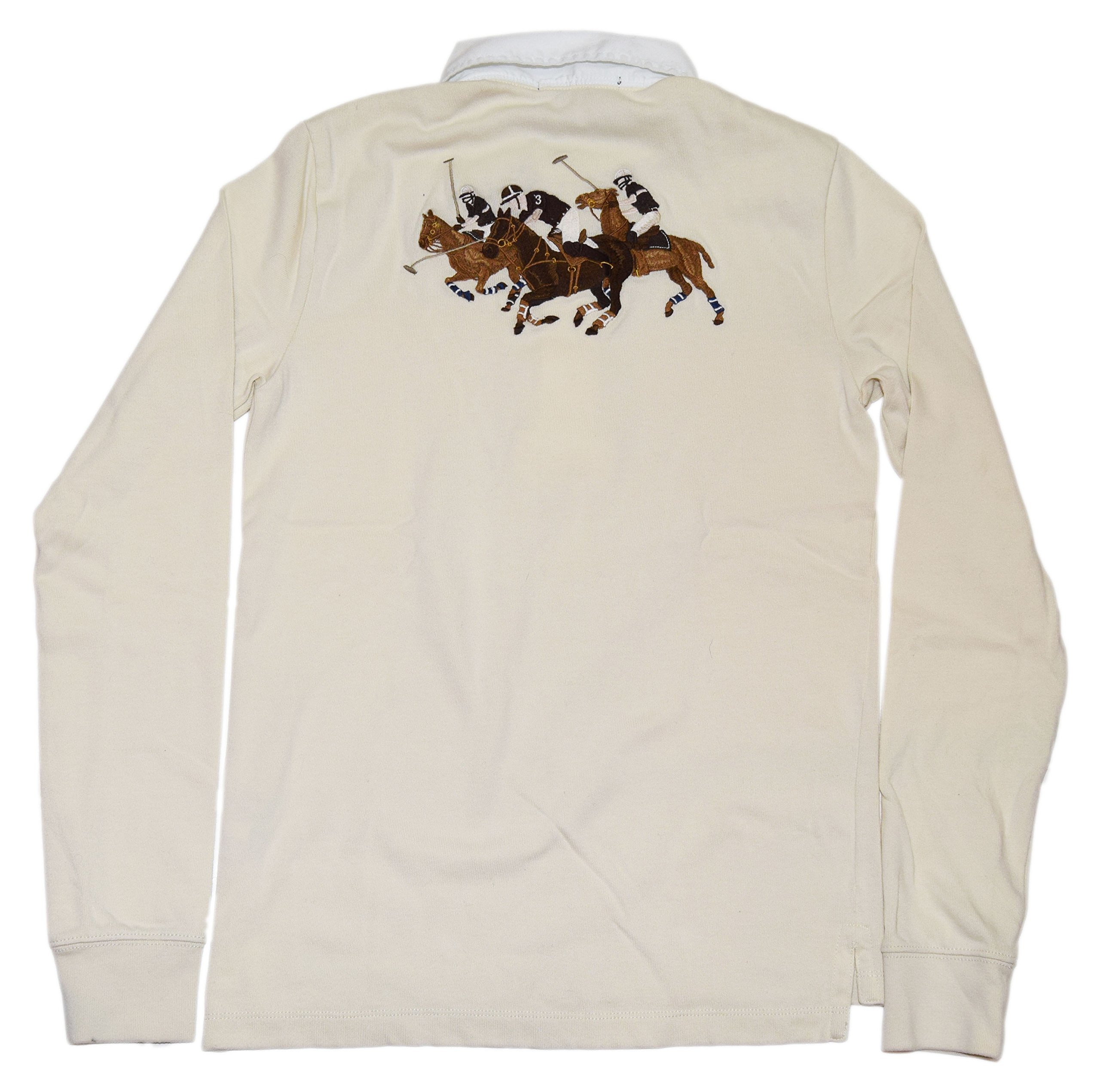 Polo Ralph Lauren Sport Womens Pullover Big Pony Match Shirt Cream White Large