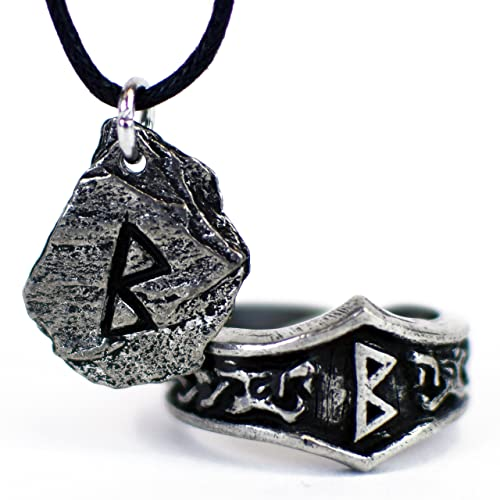 Unisex Viking Pewter Rune Pendant and Matching Adjustable Runic Ring Gift Set MFXgE