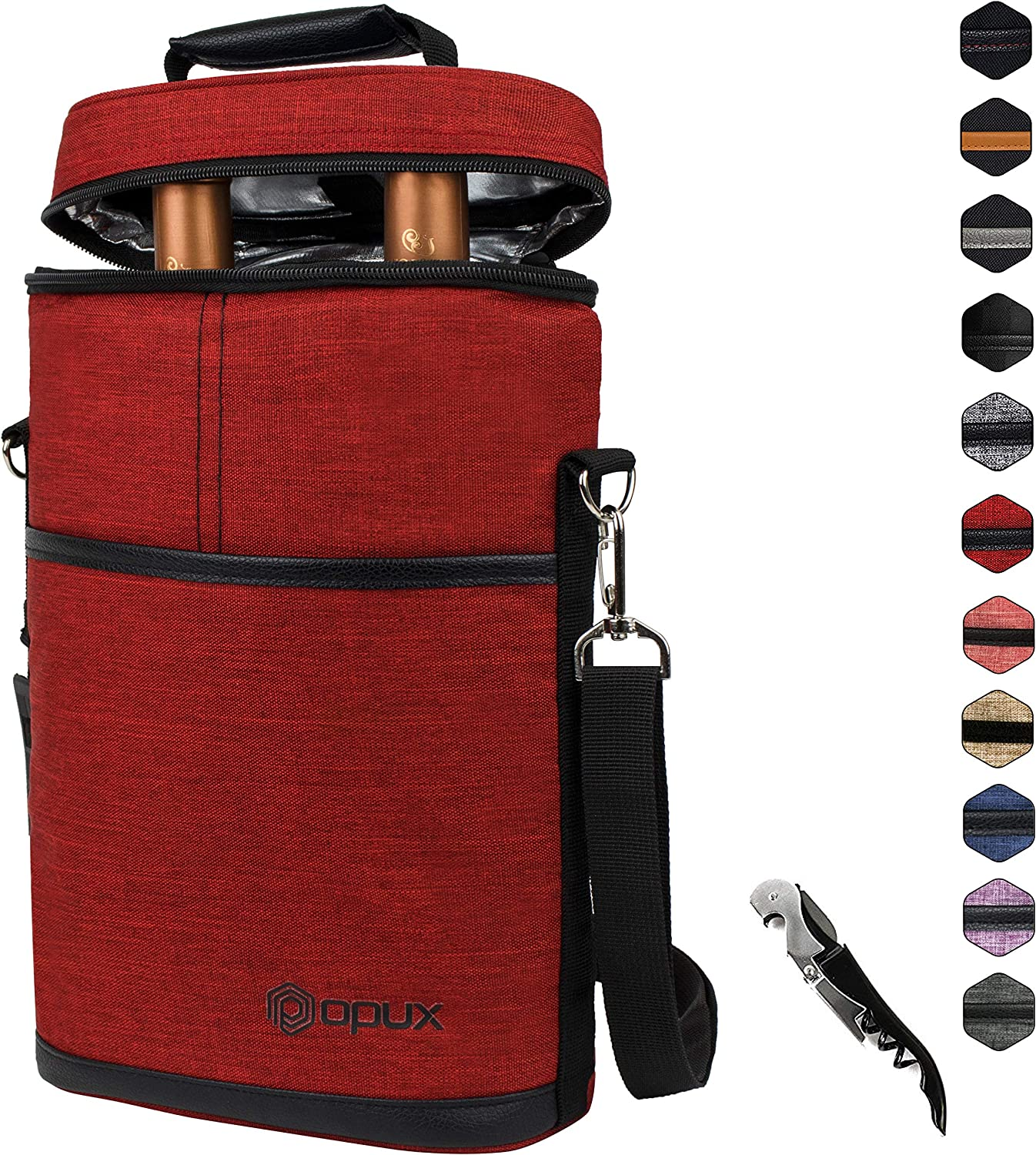 Insulated 2 Bottle Wine Carrier | Wine Tote Bag with Shoulder Strap, Padded Protection, Corkscrew Opener | Portable Wine Cooler Carrying Bag for Travel Picnic - Dark Red