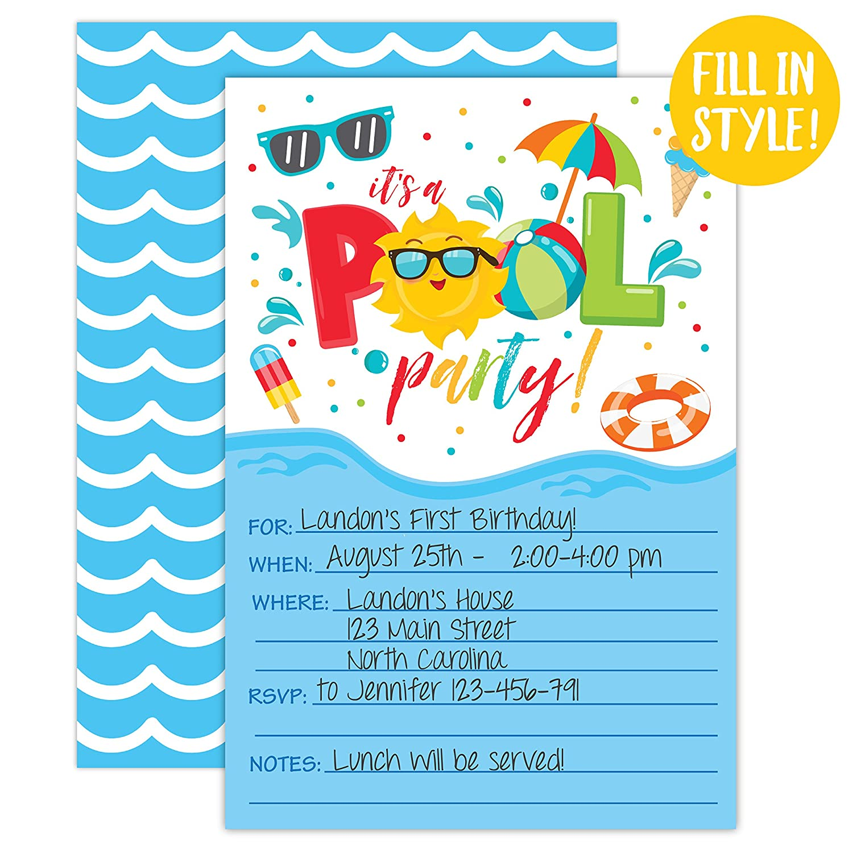 Amazon.com: Boy Pool Party Birthday Invitations, Summer Pool Party Bash, Splash Pad, Water Park Invites, 20 Fill In Pool Party Invitations With Envelopes: ...