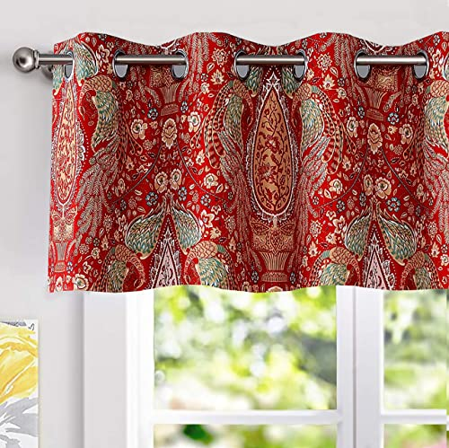 DriftAway Christopher Peacock Floral Pattern Thermal Insulated Blackout Window Curtain Valance Grommet 2 Layers Pair 52 Inch by 18 Inch Red