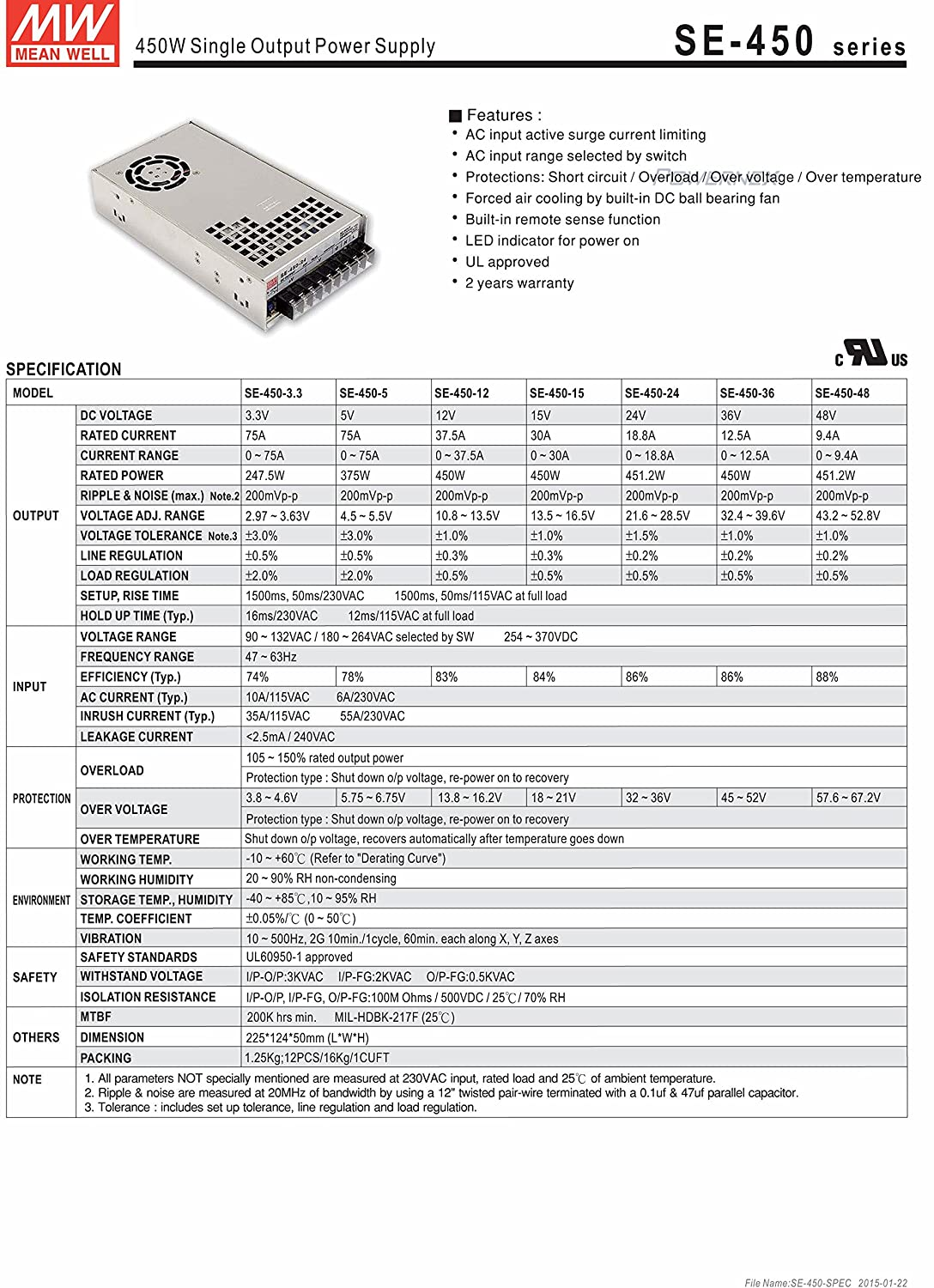 PowerNex] Mean Well SE-450-36 36V 12.5A 450W Single Output Switching ...