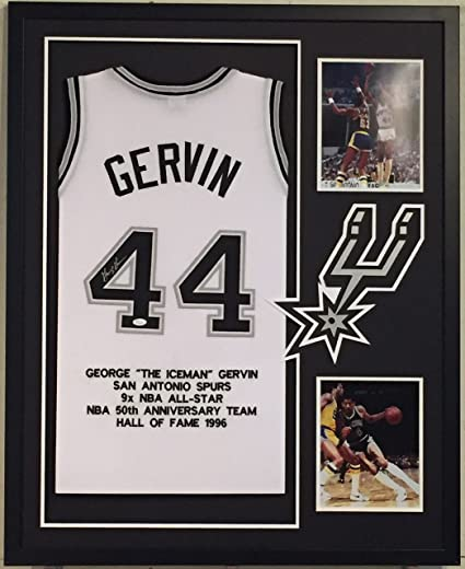f17b297781a George Gervin Autographed Custom Framed San Antonio Spurs Stat Jersey JSA  COA at Amazon's Sports Collectibles Store