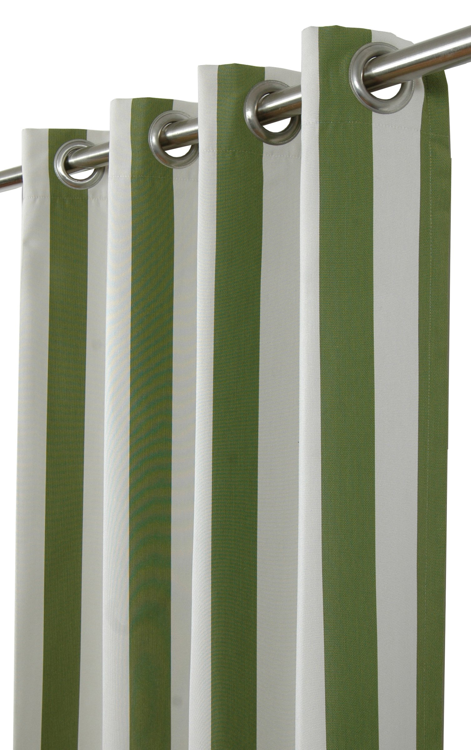 India House Sunbrella Outdoor/Indoor Curtain Panel Maxim Cilantro with 8 Stainless Steel Grommet, 50'' by 120''