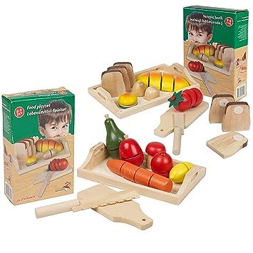Sensational Large Set Wooden Cut Fruit Veg Bread Pretend Kitchen Play Food Cutting Toy Home Interior And Landscaping Ymoonbapapsignezvosmurscom