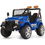 Kids 2 Seater 12v Electric / Battery Ride on Car / Wrangler Style Jeep 4X4 Blue