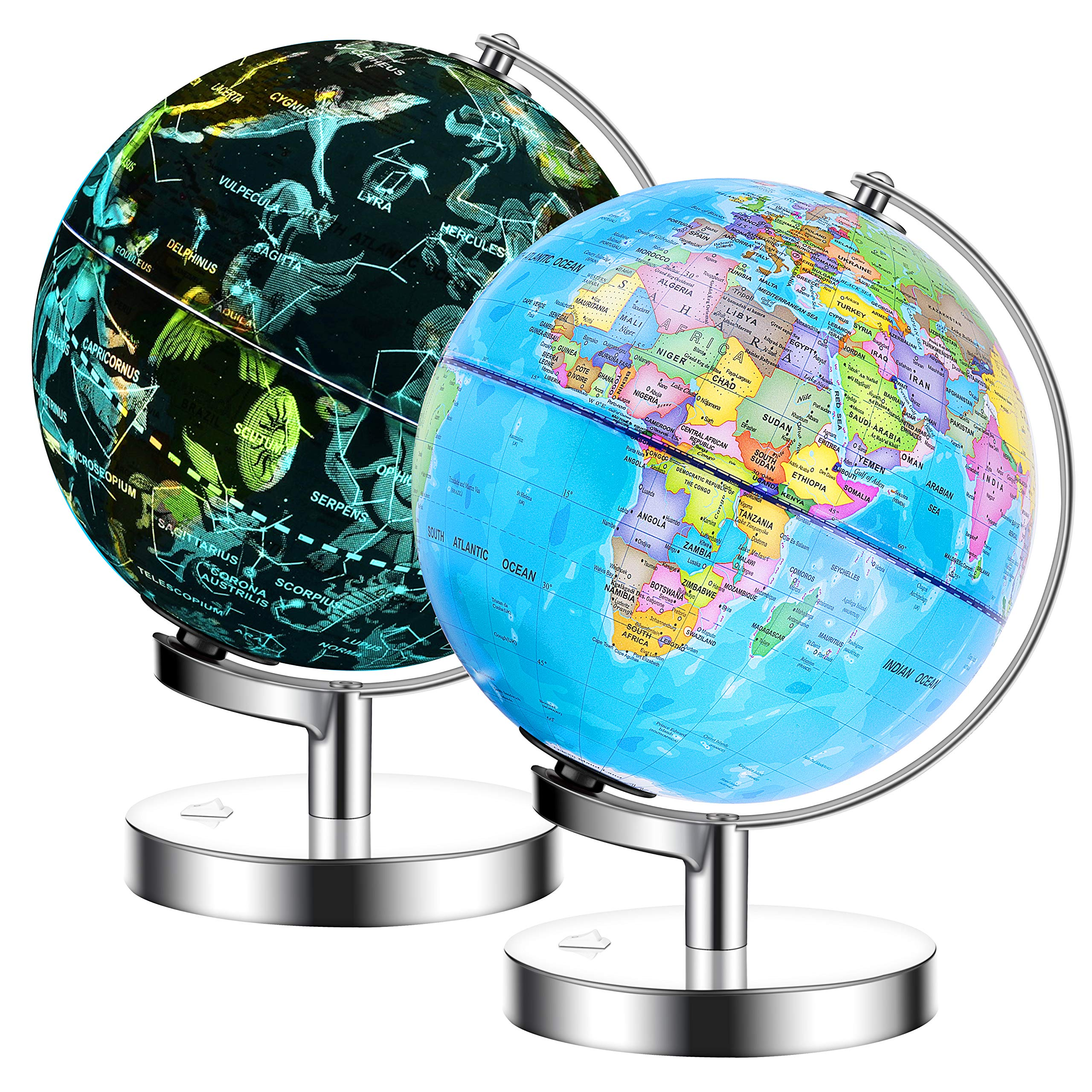 IKONG 8 inch Iluminated World Globe with Stand-Educational Gift Kids Globe Built in LED Light with World Map and Constellation View,Interactive Desktop Earth Globe,Magnifier & Batteries Included