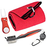 Mile High Life Microfiber Waffle Pattern Golf Towel | Club Groove Cleaner Brush | Foldable Divot Tool with Magnetic Ball Marker
