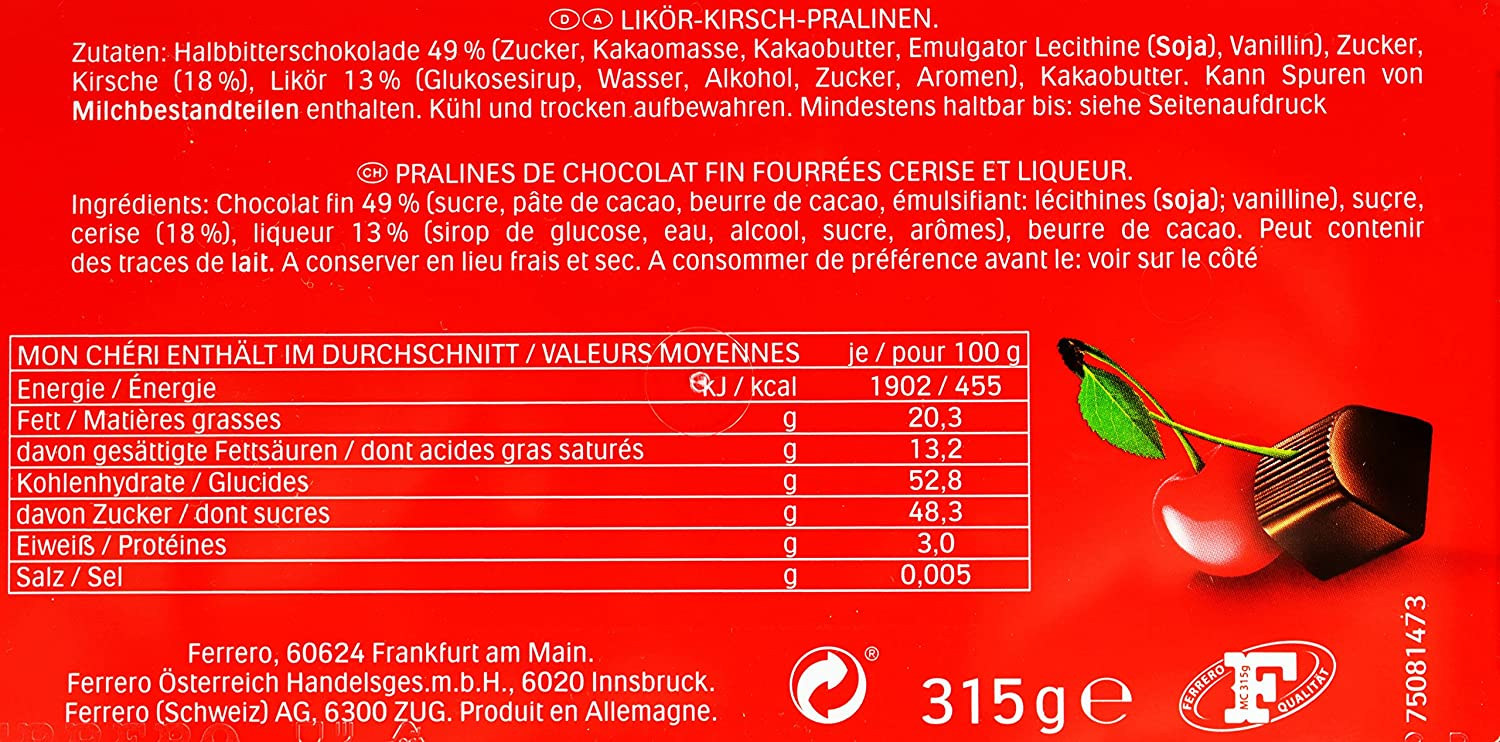 MON CHERI PRALINES PIEMONT CHERRY 75 pieces by MON CHERI FERRERO: Amazon.es: Hogar