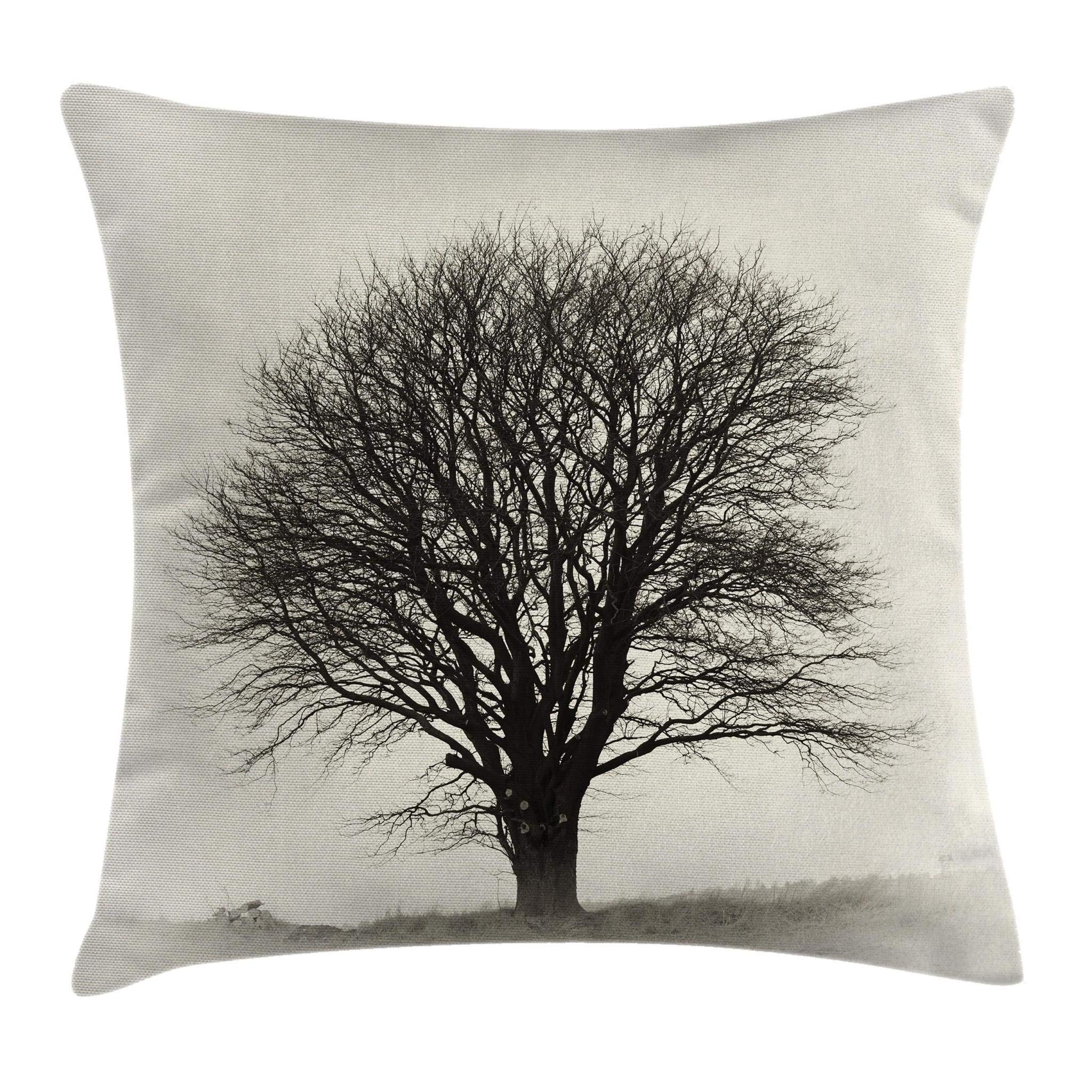 Ambesonne Grey Throw Pillow Cushion Cover, Photo of a Big Tree on a Field Branches Fall Season Monochromic Landscape Artwork, Decorative Square Accent Pillow Case, 18'' X 18'', Beige Black