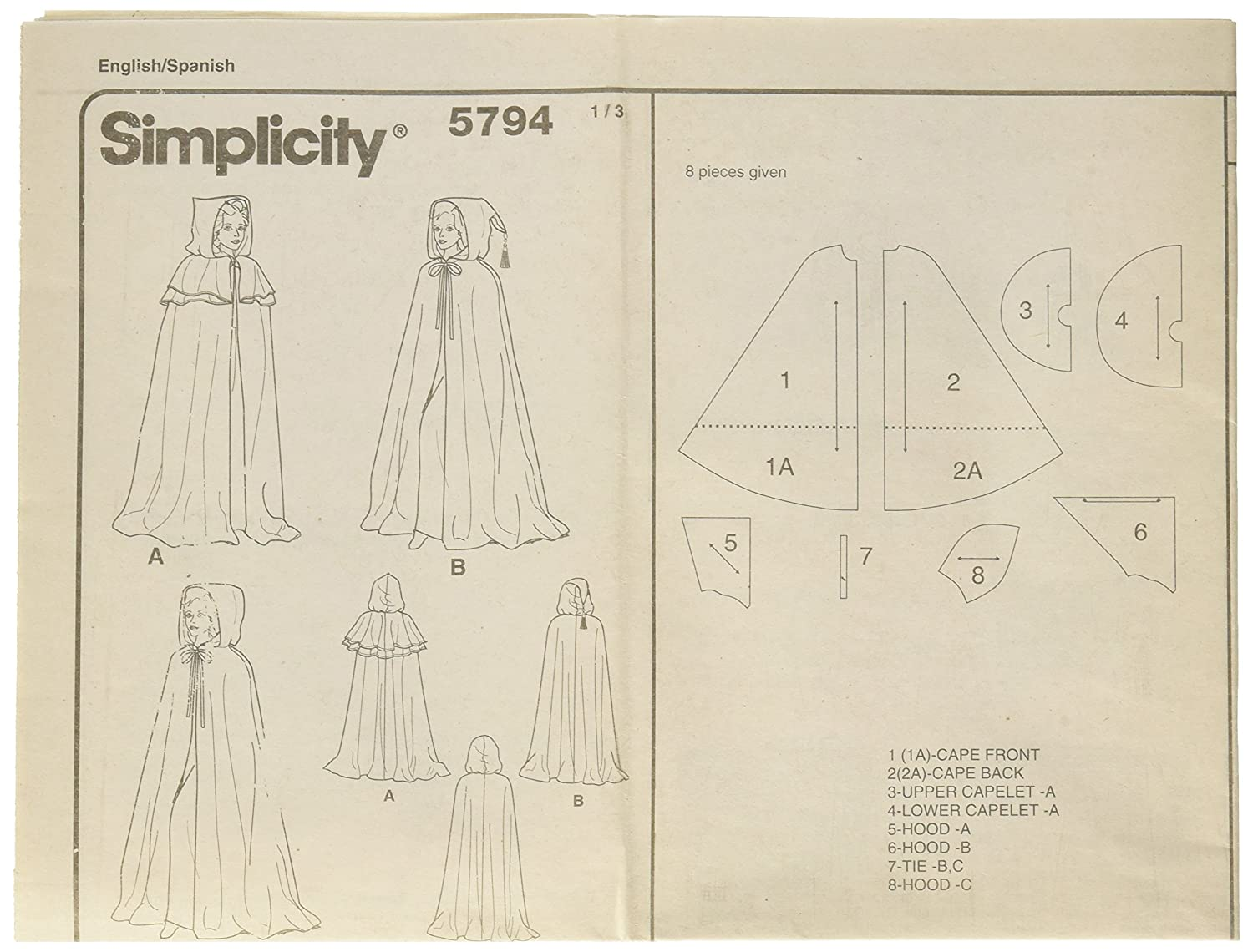 Amazon.com: Simplicity Sewing Pattern 5794 Misses Costumes, A (XS ...