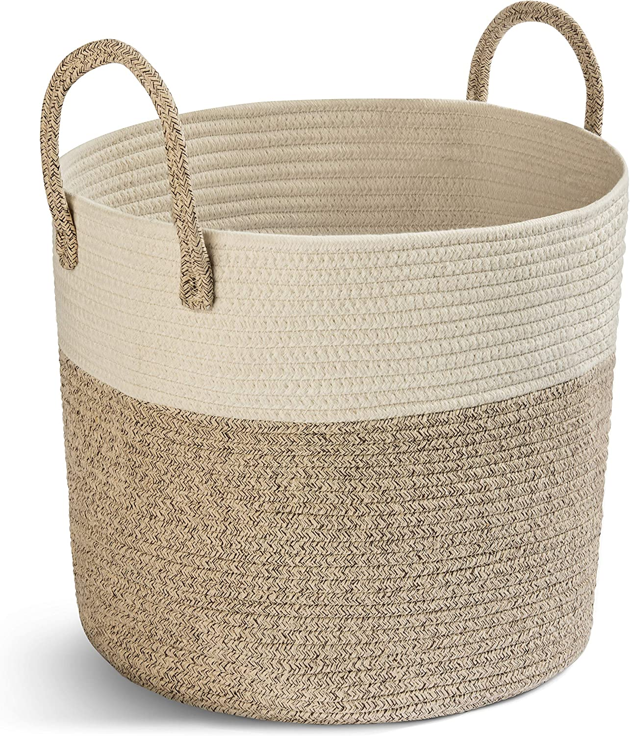 Shu Baby Woven Storage Basket - Large Cotton Rope Basket with Long Handles, Foldable Laundry Hamper, Toy Bin and Decorative Hamper (brown)