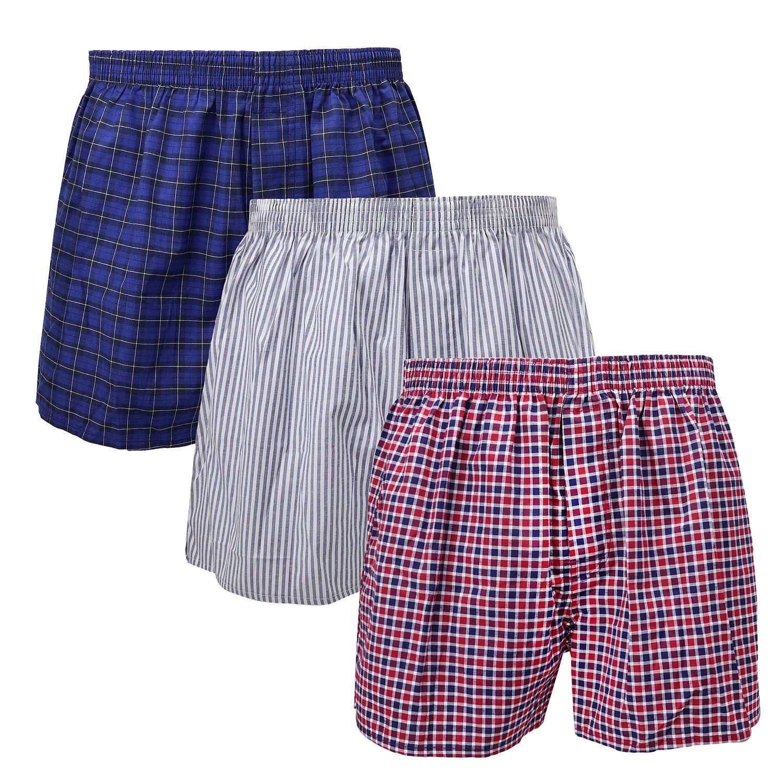 3-Pack Men's Boxer Underwear 100% Cotton Premium Quality 366-15-Medium