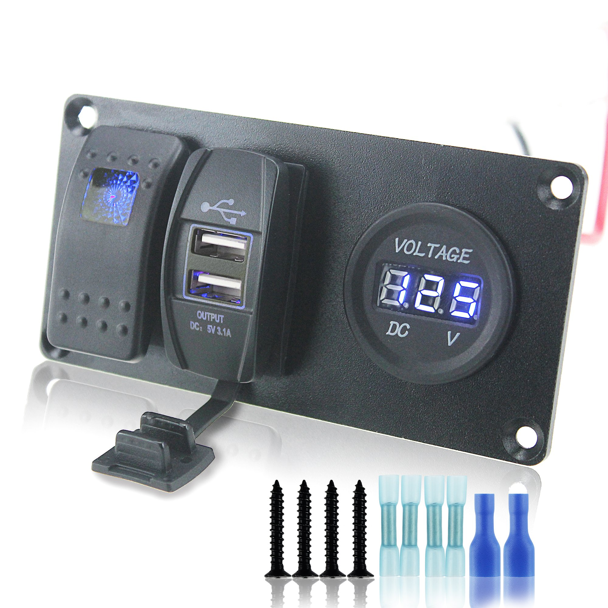 Iztor DC 12V/24V Push Rocker Switch & 3.1A USB & voltmeter socket blue Indicator aluminum panel for Cars Trucks ATVs by iztor