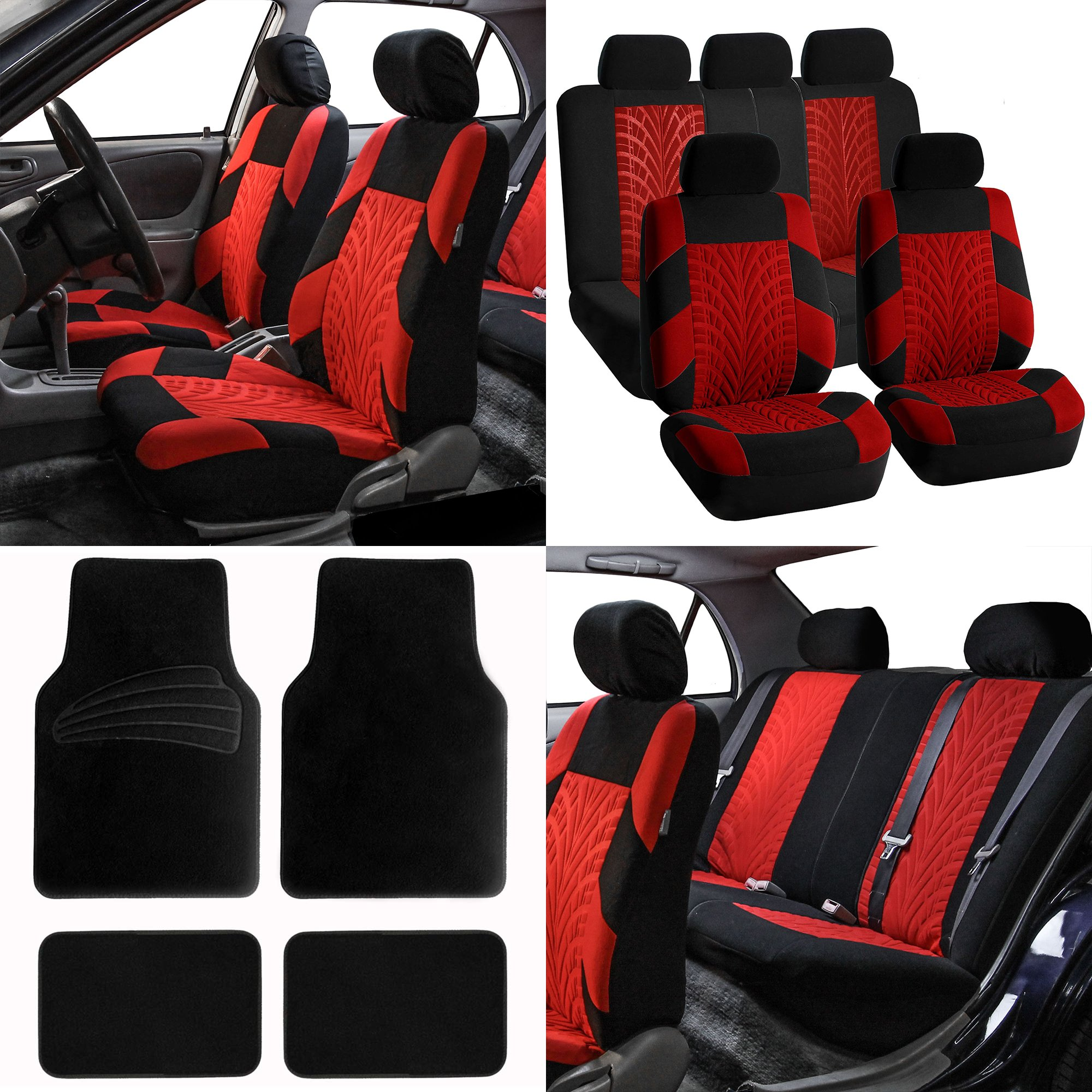 FH Group FB071115 Complete Set Travel Master Seat Covers Airbag Ready & Rear Split, Red/Black Color w. Premium Carpet Black Floor Mats- Fit Most Car, Truck, SUV, or Van by FH Group